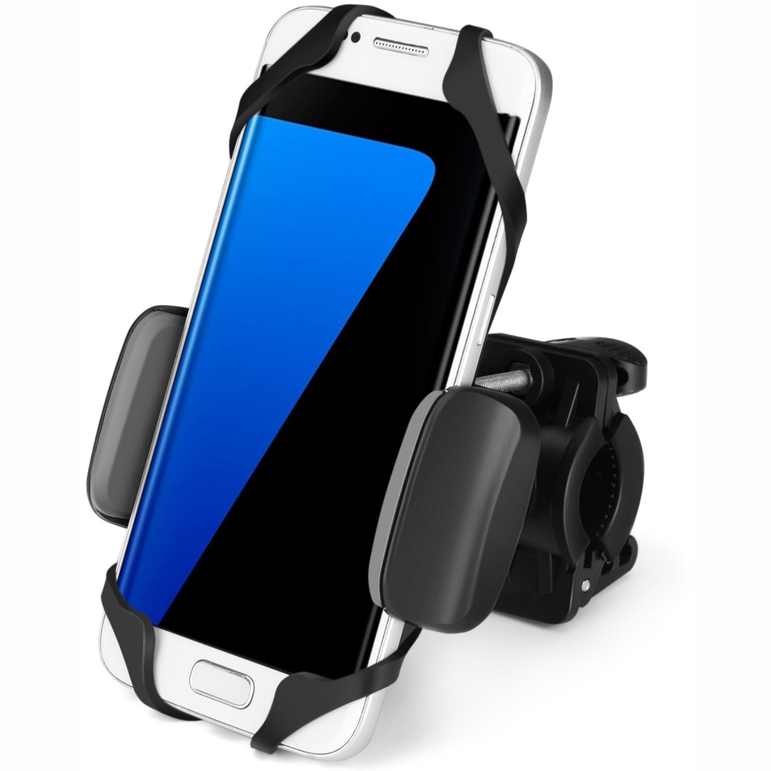 Handlebar Cradle Clamp for Bicycle Motorcycle Smartphone Devices Boating GPS Fits iPhone 7 Plus Samsung 360 Degrees Rotatable Rubber Strap Flexzion Universal Bike Phone Mount Holder Adjustable