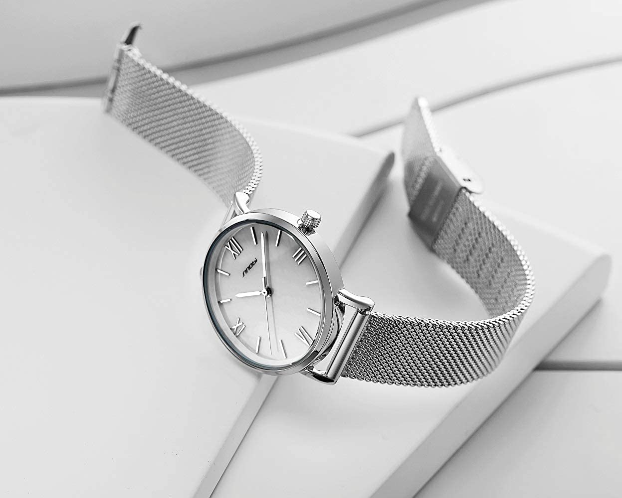 Amazon.com: SINOBI Creative Design Simplicity Women Watch Elegant Diamond Mesh Band Women Watches Ladies Wristwatch (S9709L-Silver-Shell Dial): Watches