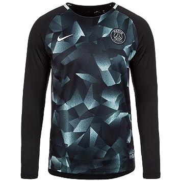 online store 4fd0a b81fb 2017-2018 PSG Nike LS Pre-Match Training Shirt (Black ...