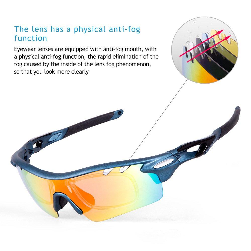 IKuaFly Sportsonnenbrille Sonnenbrille für das Fahrradfahren TR90 Anti-Fog mit 5 Austauschbaren Brillengläsern UV400 per Uomo, Grau