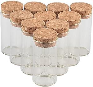TAI DIAN 30x60mm 25ml Glass Vials Jars Test Tube with Cork Stopper Empty Glass Transparent Clear Bottles 12pcs (12, 25ml-30x60mm)