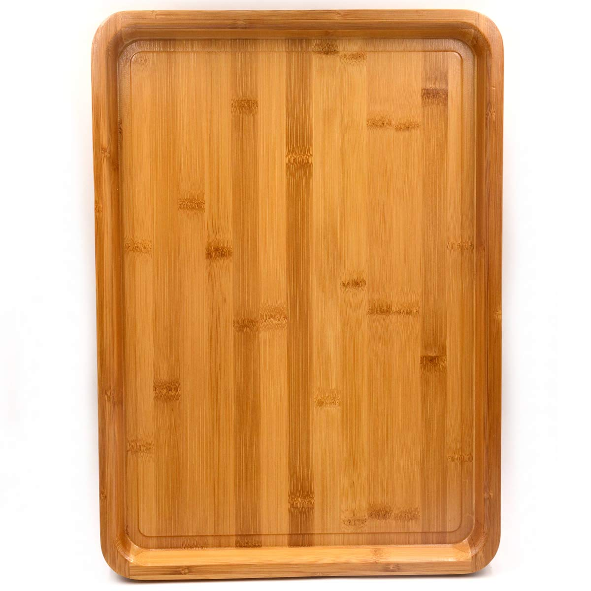 Bamber Large Size Bamboo Serving Tray, Oval, 15.5 x 11.8 x 0.8 Inches US-BTTBAM403002