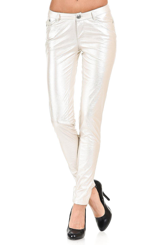 VIRGIN ONLY Women's Skinny metallic PU leather pants