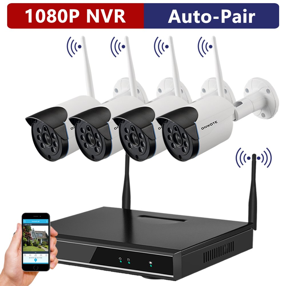 ONWOTE 1080P HD Outdoor Wireless Security Camera System, 4 Pcs 960P HD 1.3 Megapixel Night Vision Video Surveillance Cameras, NO Hard Drive (Built-in Router, Auto Pair) …