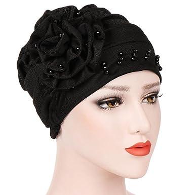 Viewk Women Floral Printed India Hat Muslim Ruffle Cancer Chemo Beanie Turban Wrap Cap