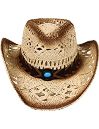 Men   Women s Western PU Leather Band Cowgirl Cowboy Straw Hat 87085882409
