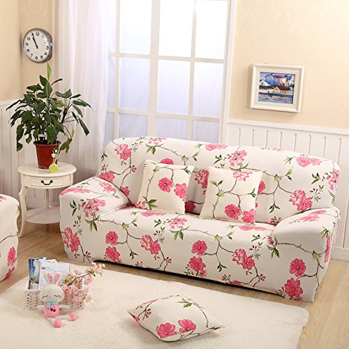 Yazi Summer Rose Stretch Spandex Fabric Loveseat Slipcover Furniture Protector Cover Two Seater 57 72 Inch