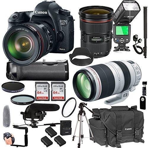 Canon EOS 6D Mark II with 24-70mm f/2.8 L is II USM + 100-400mm f/4.5-5.6 L is II USM + 128GB Memory + Pro Battery Bundle + Power Grip + Microphone + TTL Speed Light + Pro Filters,(24pc Bundle) For Sale