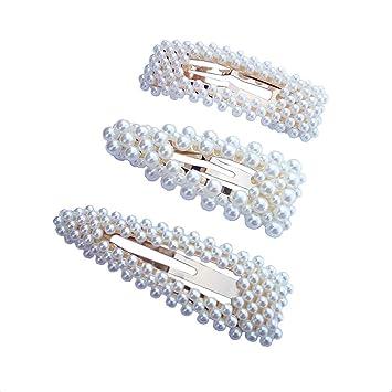 b5ee8c9a36c56 Amazon.com : Hair Barrettes Hair Pins Decorative Aguder Wedding Bridal  Artificial Pearl Hairpins Handmade Bridesmaid Hair Clips Hair Accessories  for Women ...