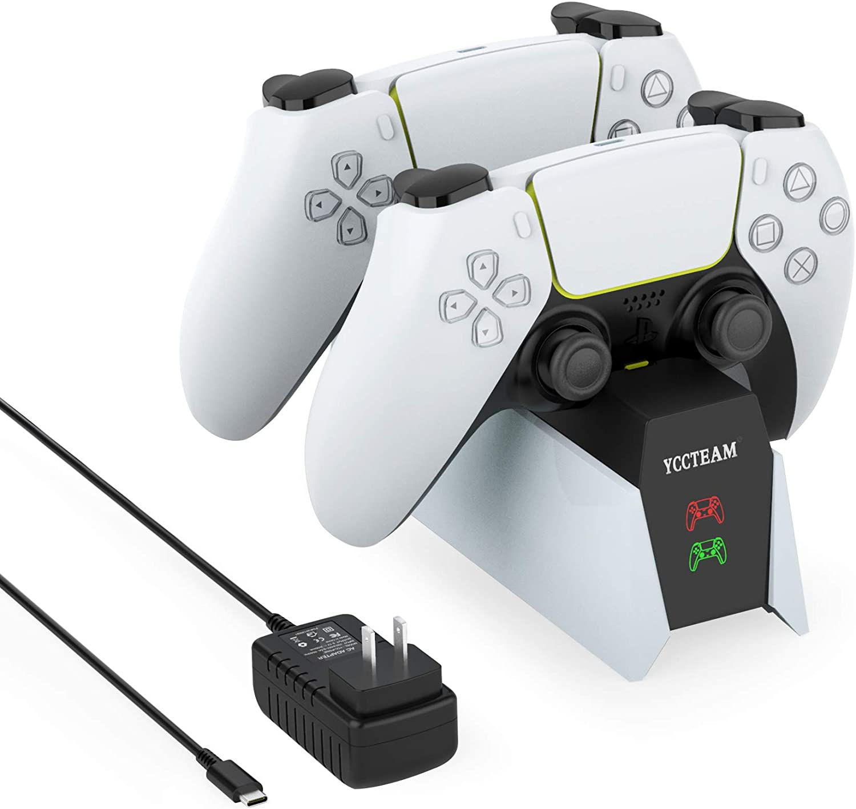 YCCSKY PS5 컨트롤러 충전기 PLAYSTATION5 용 듀얼 컨트롤러 충전 스테이션 유형 C 포트 및 LED 표시기가있는 PS5 컨트롤러 충전 도킹 스테이션