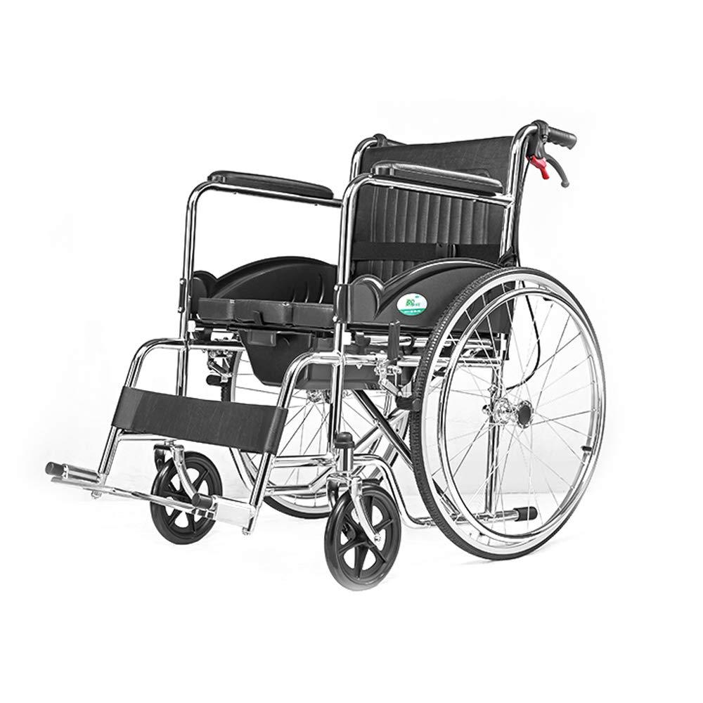 HF 車いす 車いす、高齢者障害者、手動マニュアルスチール車椅子、座って折り畳むポータブルケア *   B07H995R89