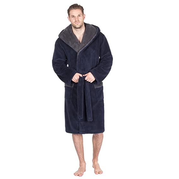 Pierre Roche Men\'s Snuggle Fleece Hooded Dressing Gown - with ...
