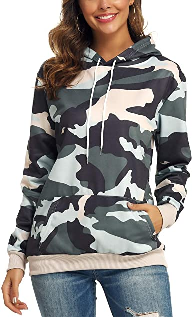 Fllay Women Camouflage Printted Kangaroo Pocket Pullover Hoodie Sweatshirt M