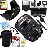 Sigma (576-955) 24-70mm F2.8 DG OS HSM Art Lens for Nikon Mount + 64GB Ultimate Filter & Flash Photography Bundle