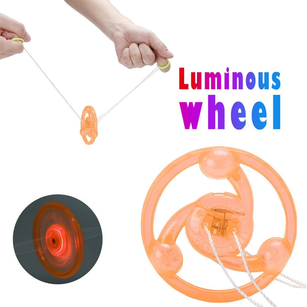 Fenleo Children Luminous Flywheel Whistle Pull Sound YOYO Toy Pocket Toy With LED Light Kids Boy & Girls,Both Hands Pull The Whistle