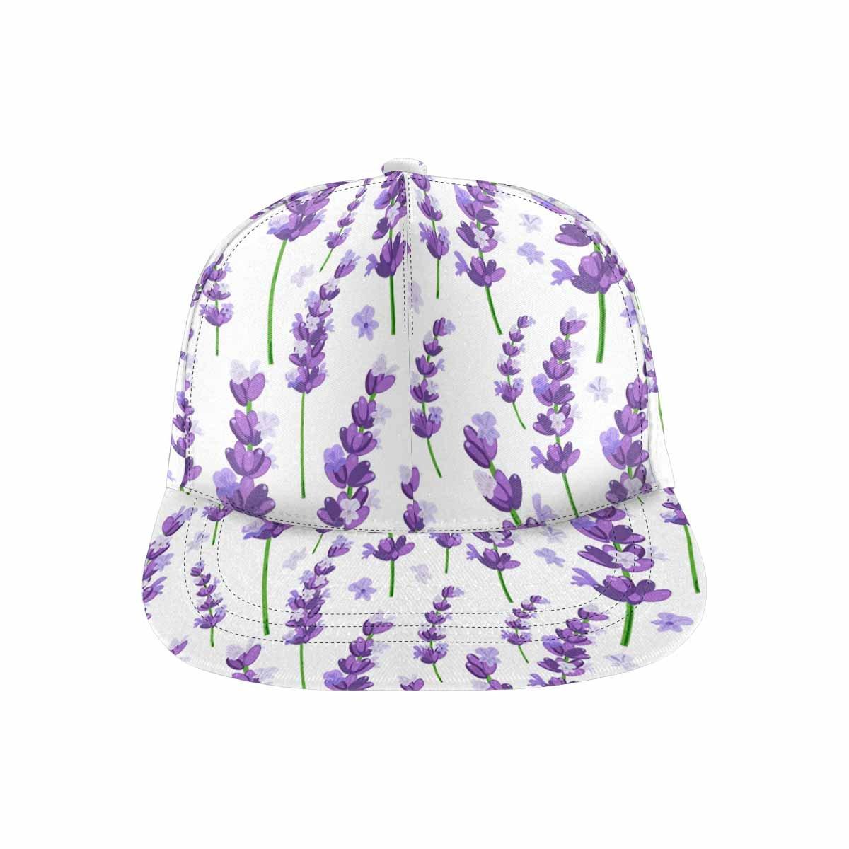 InterestPrint Provence Violet Lavender Flowers Adjustable Dad Hat Flat Bill Baseball Cap