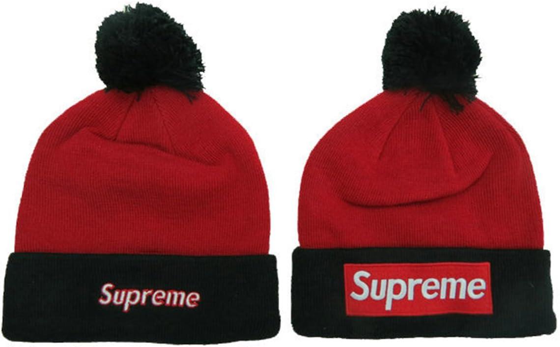 Supreme Beanie Sombreros/gorros (Rojo con color blanco logo ...