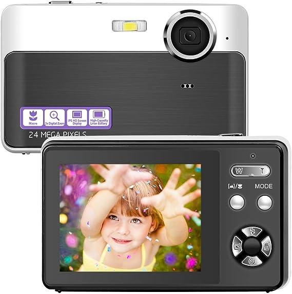 Digital Camera Vlogging Camera 24 Megapixels Mini Digital Camera 2.4 Inch Screen Camera with Digital Zoom Macro Compact Cameras for Adult