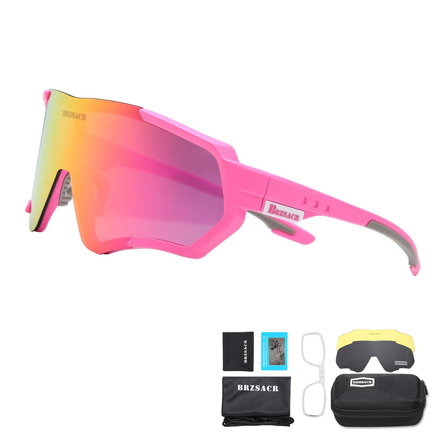 ACS1986 Polarized Sports Sunglasses with Interchangeable Lenes for Men Women Cycling Running Driving Fishing Golf Baseball Glasses.
