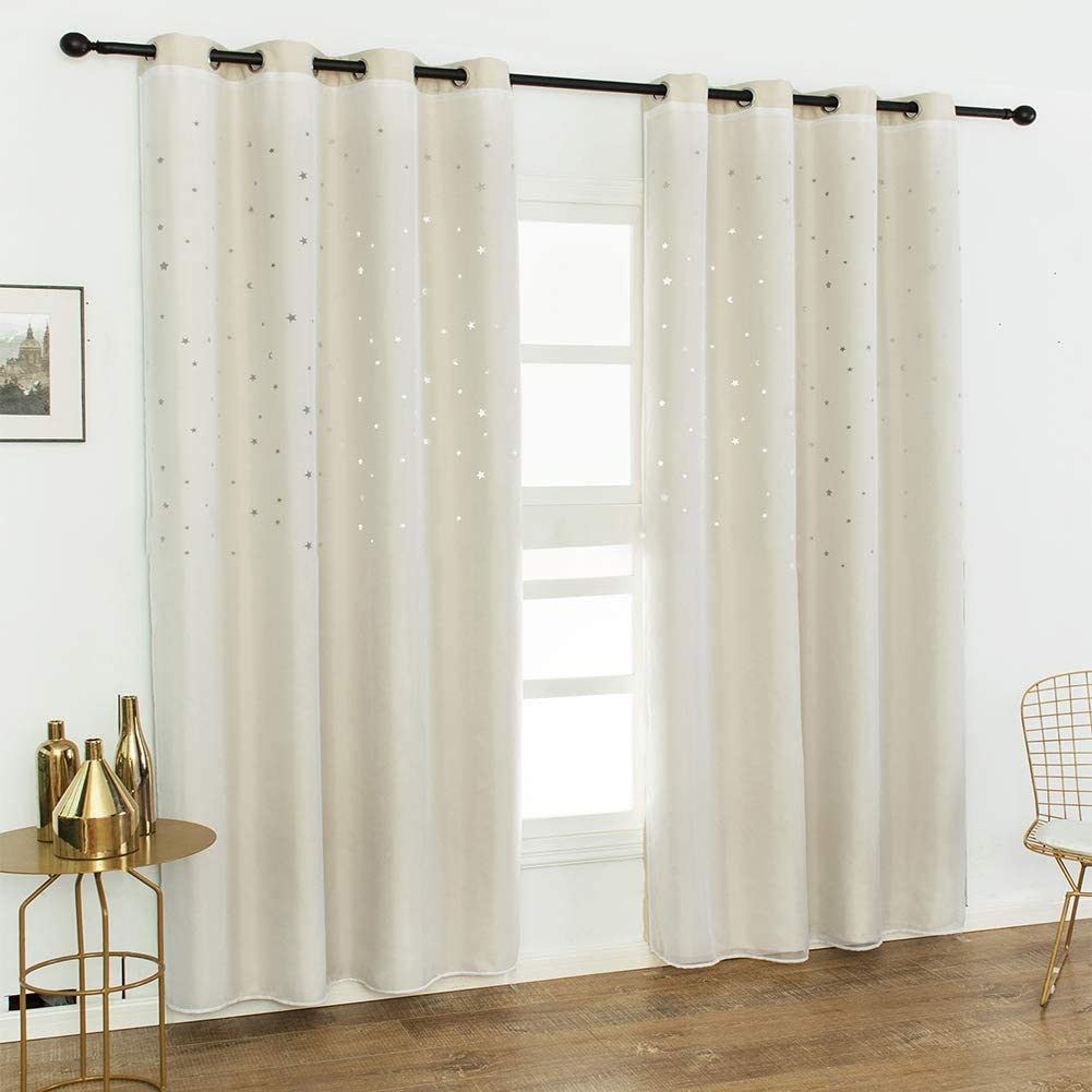 Hinma2 Star Curtains For Kids Beige Eyelet Light Blocking Baby Pink Window Star Curtain For Girls