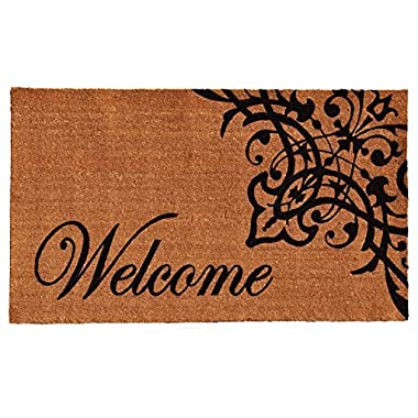 Home & More 121352436 Scroll Welcome Doormat, 24  x 36  x 0.60 , Natural/Black
