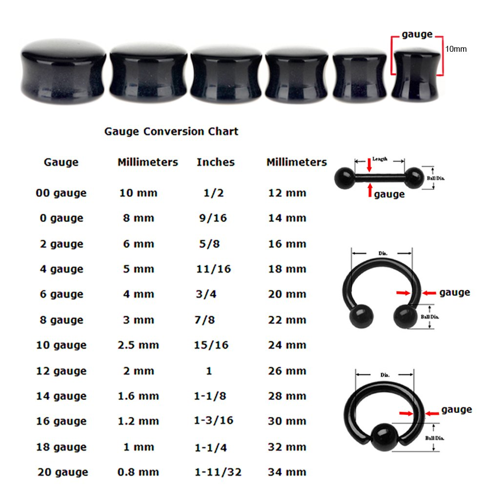 5 Pairs or 1 Pair 6mm to 25mm Flesh Tunnels Internally Threaded Screw MoDTanOiz