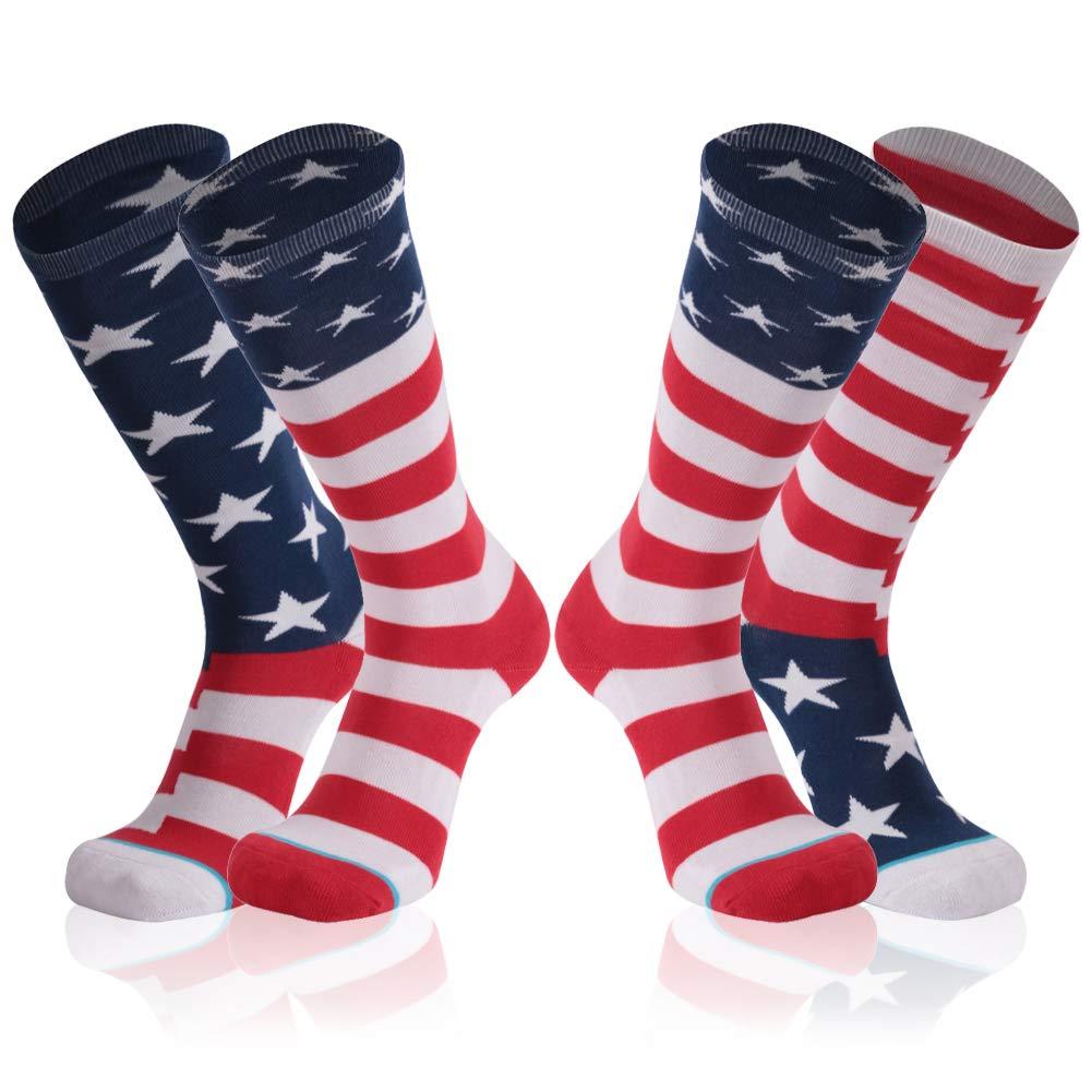 American Flag Socks, Gmark Women's Red, White, and Blue Patriotic Socks 2-Pair Size Large