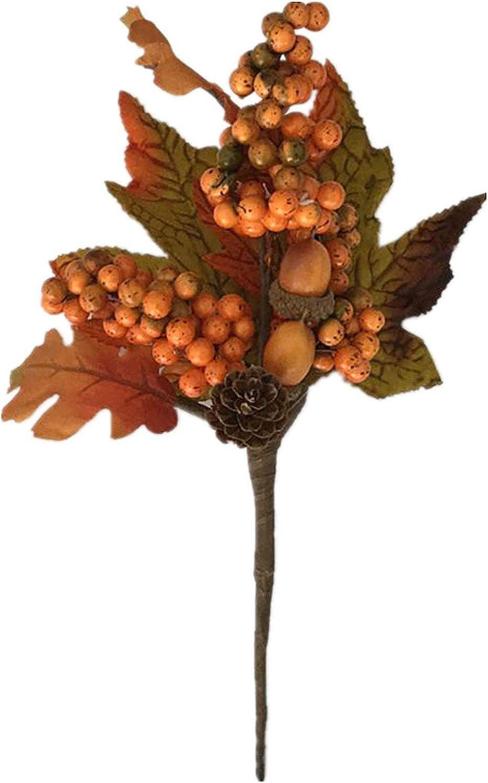 BinaryABC Thanksgiving Fall Harvest Maple Leaf Berry Pine Cone Stems,Fall Floral Picks,Thanksgiving Autumn Fall Wreath Decor,Thanksgiving Party Supplies