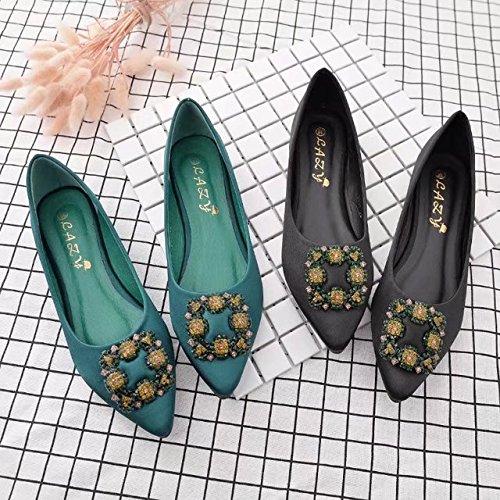ANBOVER Women's Rhinestone Pointy Toe Ballet Flats Office Flat Comfortable Work Shoes B075JM6TMN 8 B(M) US|Black