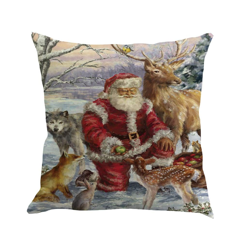 I1 4PC//Set Christmas Cushion Cover 18 X 18 in Mumustar Linen Throw Pillow Cases Protector Snowman Santa Claus Patterns Animals Square Pillowcase for Home Sofa Seat Decor