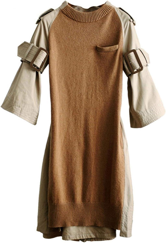 Pink-star Knitted Dress Female Patchwork O Neck High Waist Three Quarter Sleeve Mini Dresses