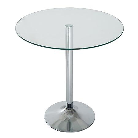 Homcom - 70 cm de cristal redondo parte superior mesa de café ...