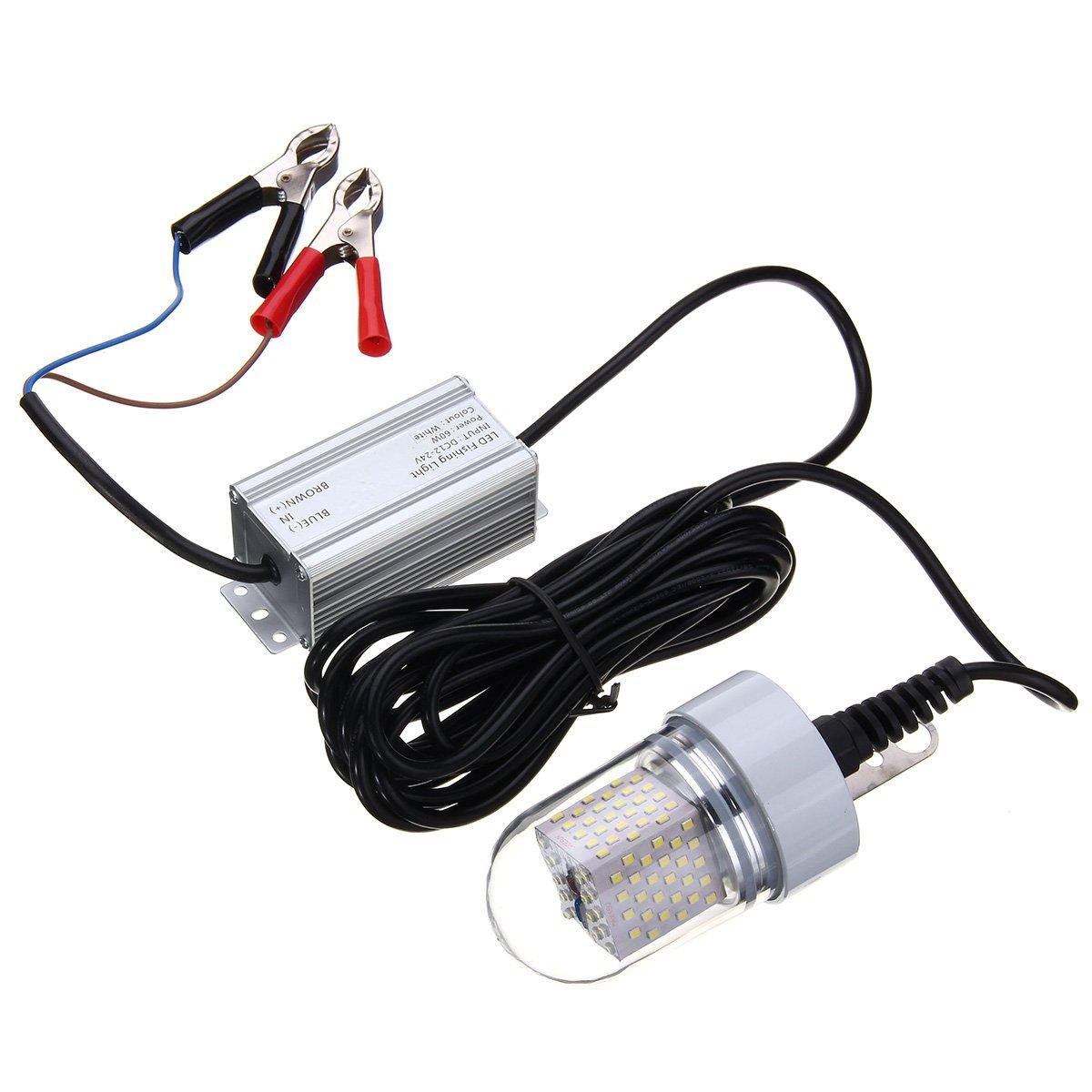 LEDMOMO 12V 15W LED Submersible Fishing Light Deep Drop Underwater Fish Finder Lamp (White)