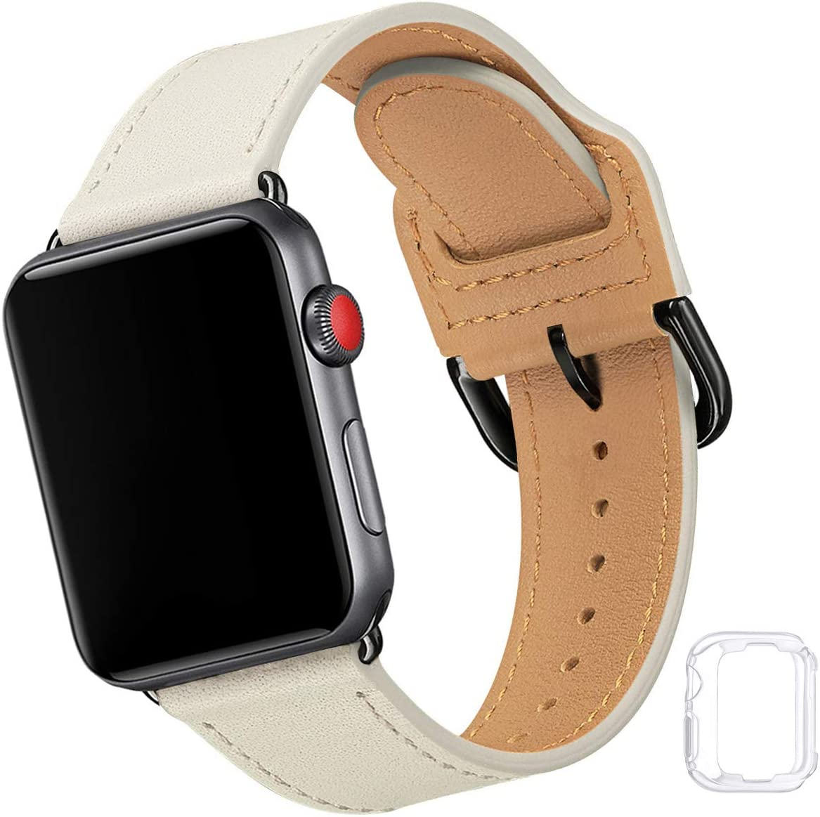 Compatible with Apple Watch Band 38mm 40mm 42mm 44mm, Soft Leather Watch Band Replacement Strap for iWatch SE Series 6 5 4 3 2 1 (Khaki with Black, 42MM/44MM)