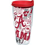Tervis Alabama Crimson Tide All Over Insulated Tumbler with Wrap and Lid, 24oz, Clear