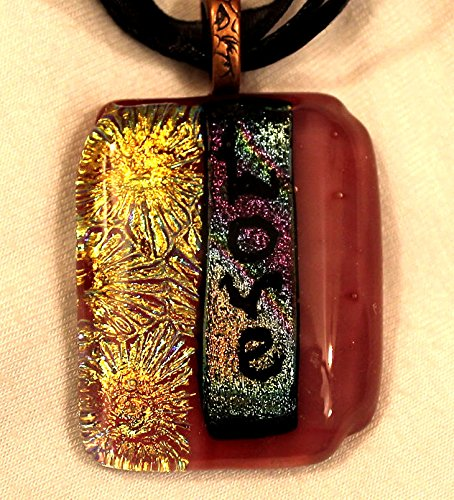 Dichroic Fused Glass Pendant with love in rose pink glass (Glass Pendant Pink Dichroic)