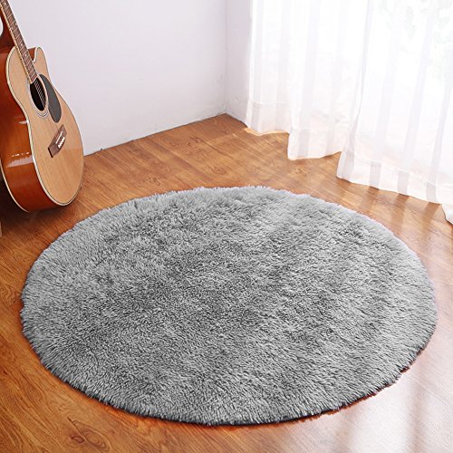YJ.GWL Ultra Soft Round Rugs for Bedroom Anti-slip Shaggy Kids Room Carpets Woman Yoga Mat Home Décor Rugs 4 Feet(Gray) from YJ.GWL