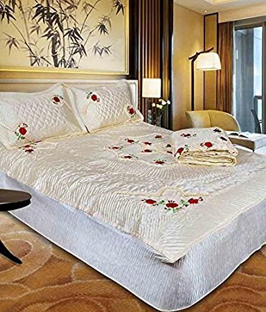 Buy Neat Stuff Products Embroidery Designer Satin Double Bed Wedding Bedding Set Set Of 4 Pcs 1 Double Bed Bedsheet 2 Pillow Cover 1 Double Bed Ac Comforter Online At Low