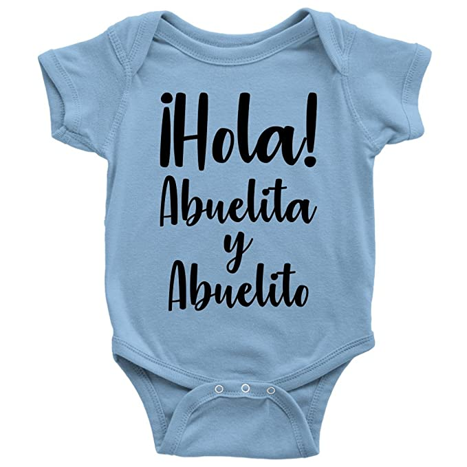 7be5e4fbe Amazon.com: Hola Abuelita Y Abuelito One-Piece Cute Spanish Grandma Grandpa Baby  Bodysuit: Clothing
