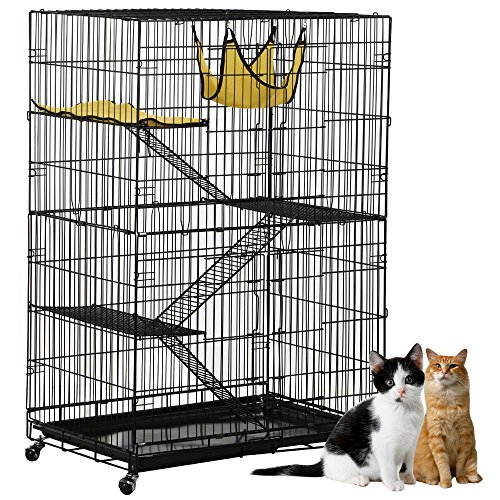 Tier Cat Tree (Yaheetech 4-Tier Cat Cage Playpen with 3 Ramp Ladders&4 Casters, Black)