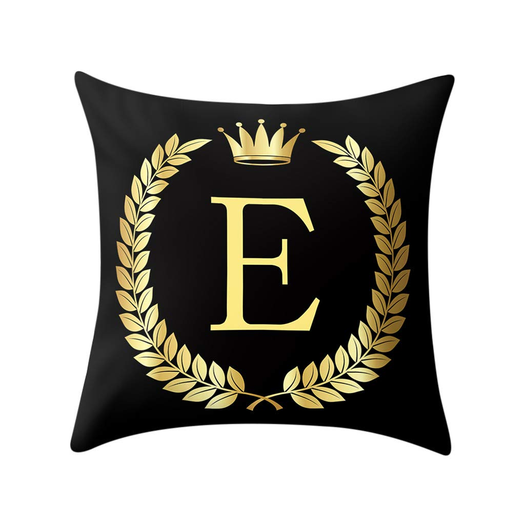 Letter Pillow Case Covers Bronzing Throw Pillow Case 18x18'' English Alphabets Cushion Cover Modern Square Pillowcase for Home Sofa Couch Decor (E)