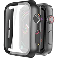 Misxi Black Hard Case Compatible with Apple Watch Series 5 Series 4 44mm with Screen Protector, Hard PC Case Slim Tempered Glass Screen Protector Overall Protective Cover for iwatch Series 5/4