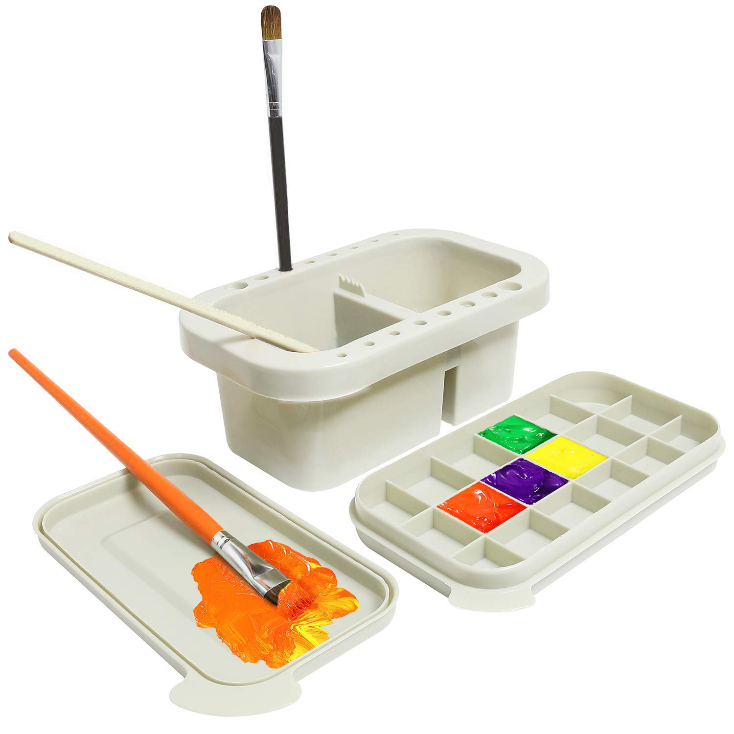 Paint Brush Basin Multipurpose Paint Water Cup with Paint Brush Holder and Palette