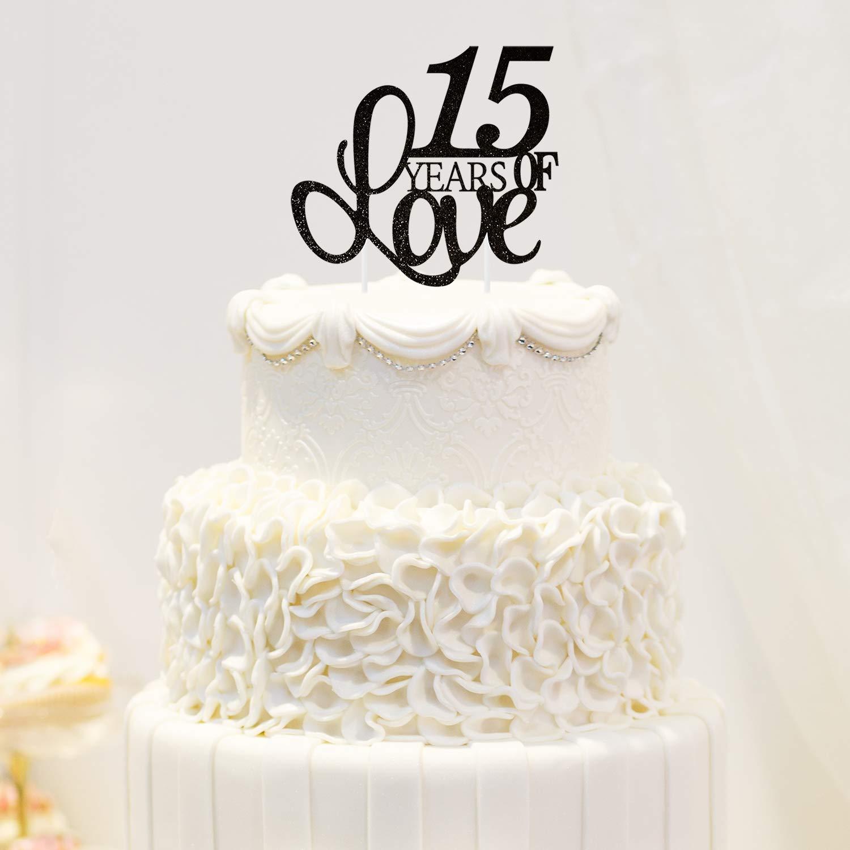 Amazon Com 15 Years Of Love Cake Topper 15th Happy Birthday