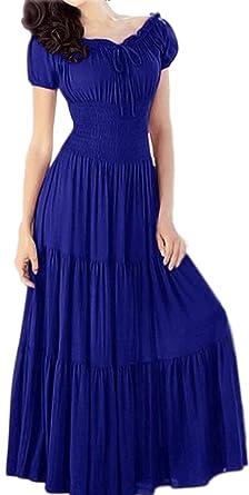 53930f54ebc Zumeet Women Long Length A-Line Dress with Short Sleeves Elasticated Waist Dress  Blue (