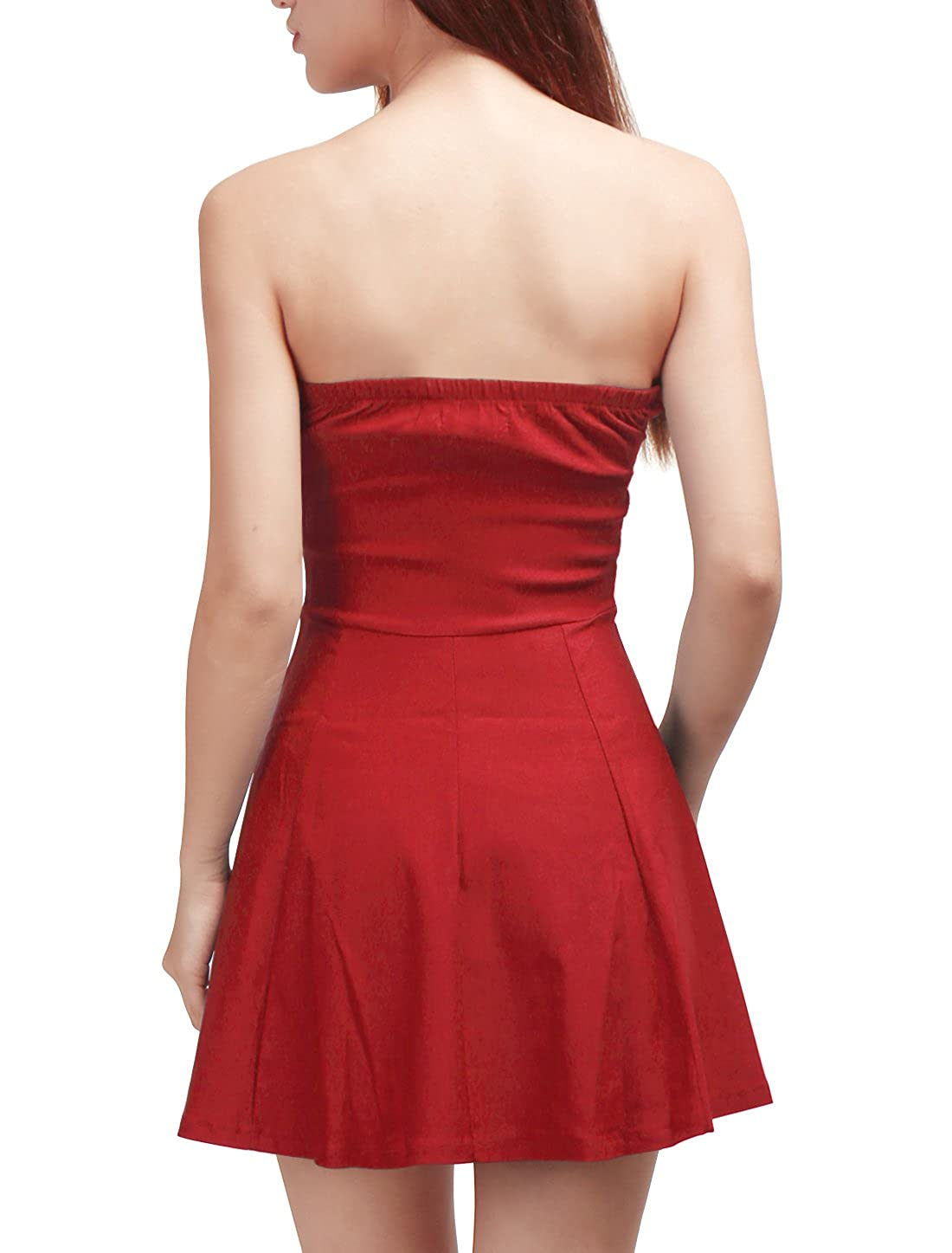 Allegra K Womens Strapless Exposed Front Zipper Party Backless A-Line Bodycon Mini Dress