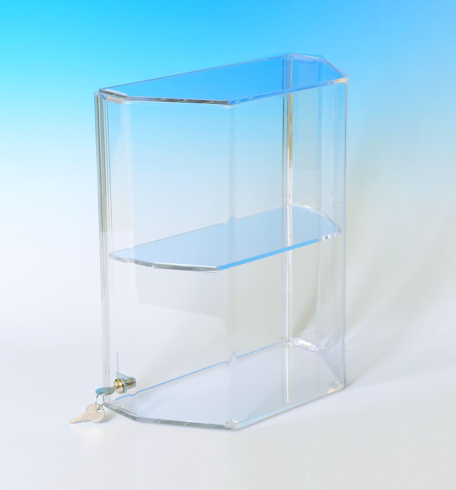 Acrylic Display Case | Dormer Window Case with three Shelves | Locking Showcase | DW163