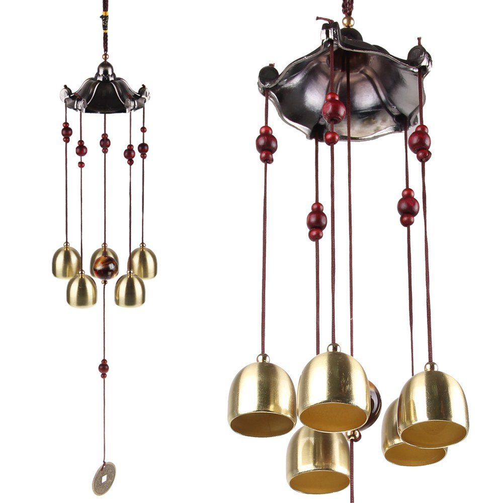 Yizunnu Wind Chimes Indoor Outdoor Classic Vintage China Style Hanging Decor 5 Bells Garden Window Decoration
