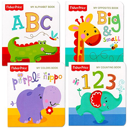 "Fisher Price ""My First Books"" Set of 4 Baby Toddler Board Books (ABC Book, Colors Book, Numbers Book, Opposites Book)"