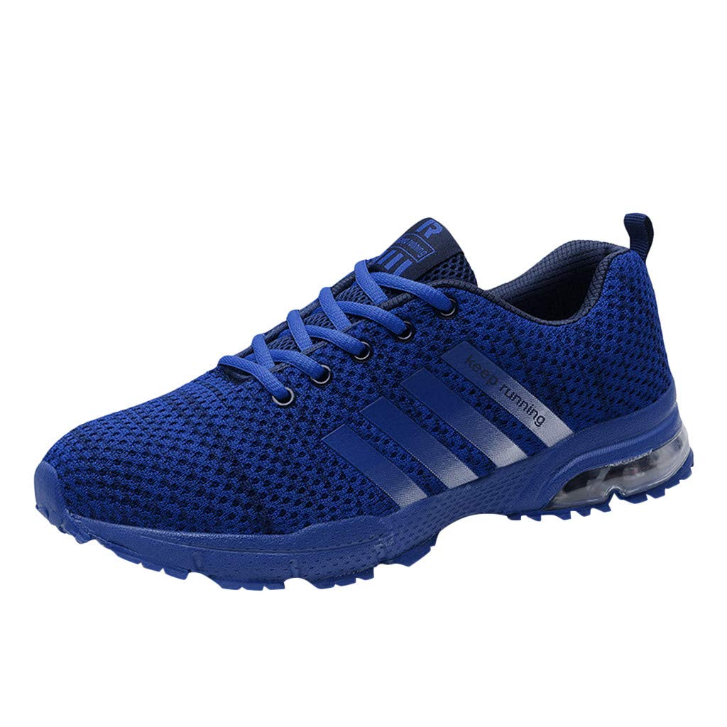 Unisex Casual Athletic Sneakers Breathable Mesh Running Tennis Shoes for Men Women Walking Baseball Jogging Size 5-11 (Blue, US:5)